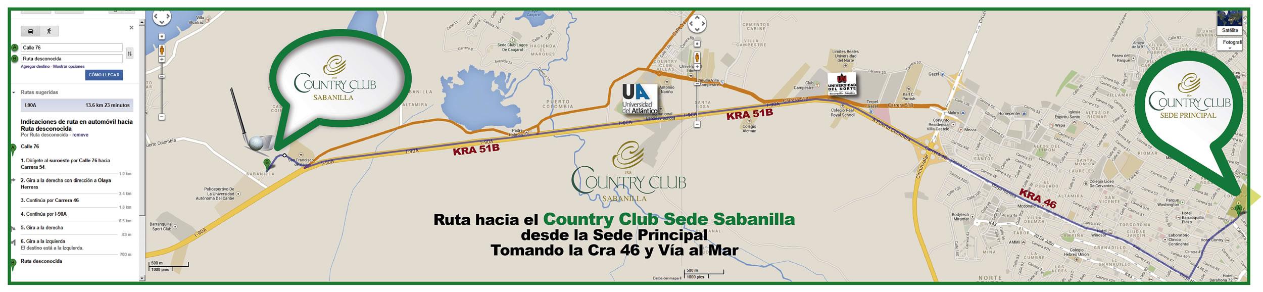 Ruta a Sede Sabanilla tomando la 46 desde la Sede Principal