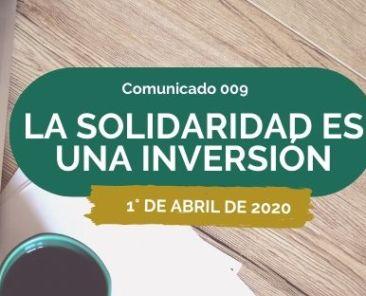 COMUNICADO LA SOLIDARIDAD ES UNA INVERSIÓN